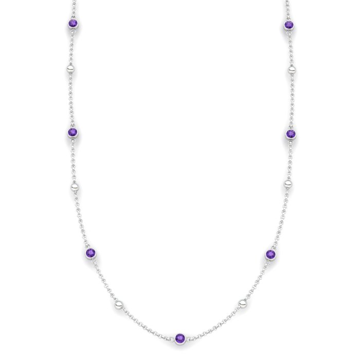 Amethyst 18K White Gold Sofia Necklace_image1