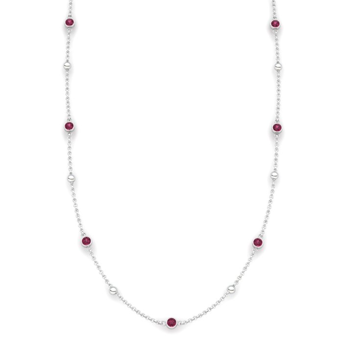 Garnet 18K White Gold Sofia Necklace_image2