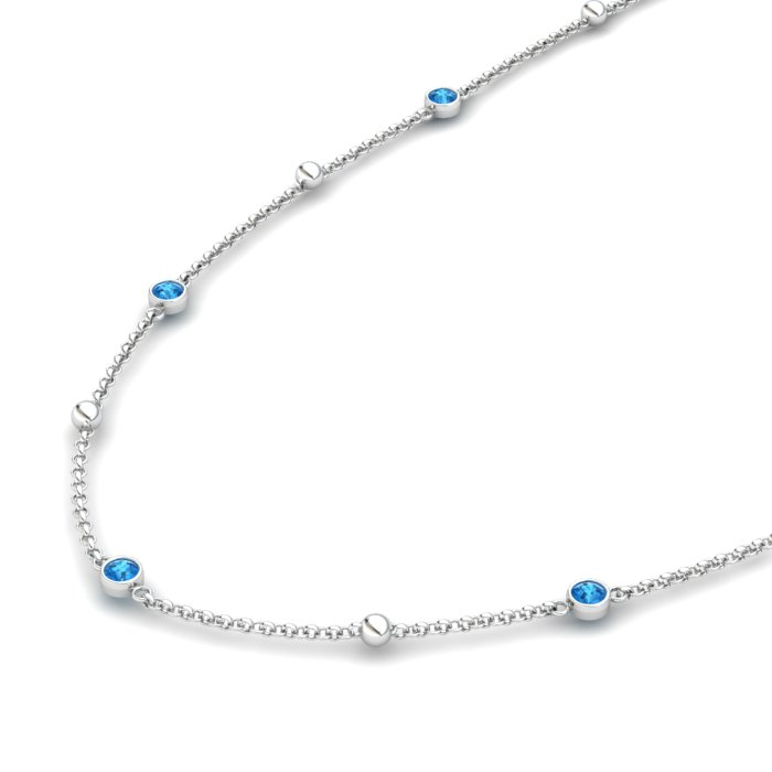 Blue Topaz 18K White Gold Sofia Necklace_image1