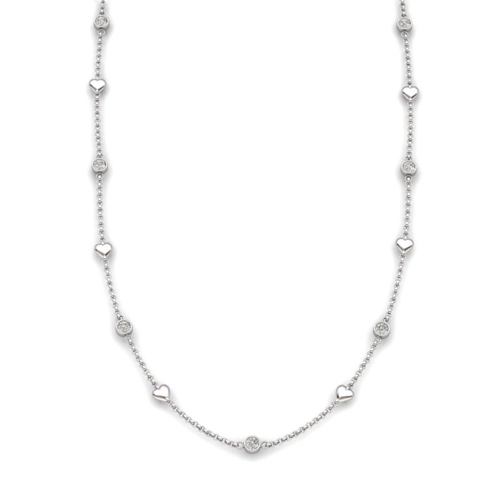 White Topaz Sterling Silver Matinee Heart Necklace