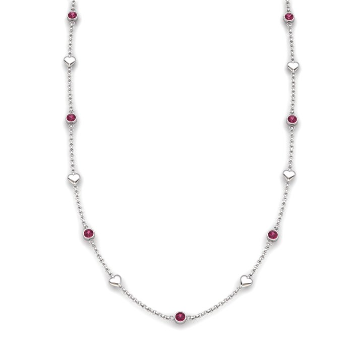 Garnet Sterling Silver Matinee Heart Necklace_image2