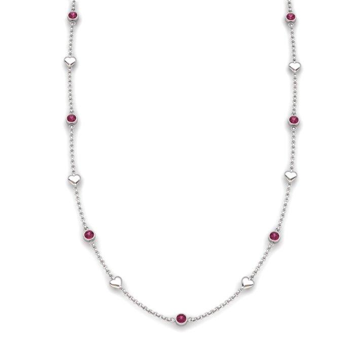 Garnet Sterling Silver Matinee Heart Necklace