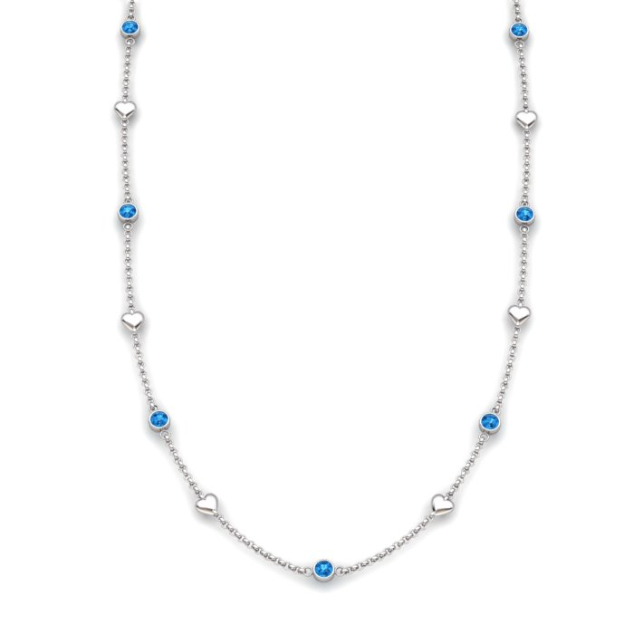 Blue Topaz Sterling Silver Matinee Heart Necklace