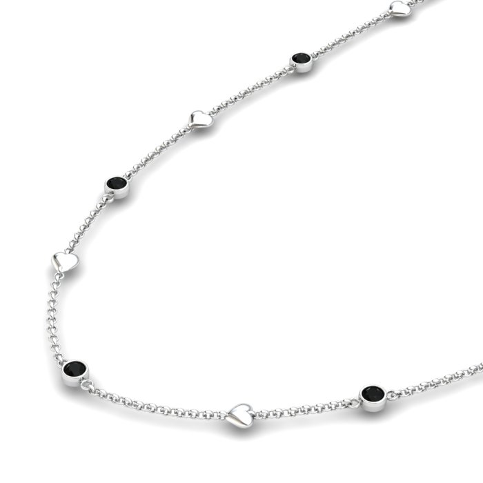 Onyx Sterling Silver Matinee Heart Necklace