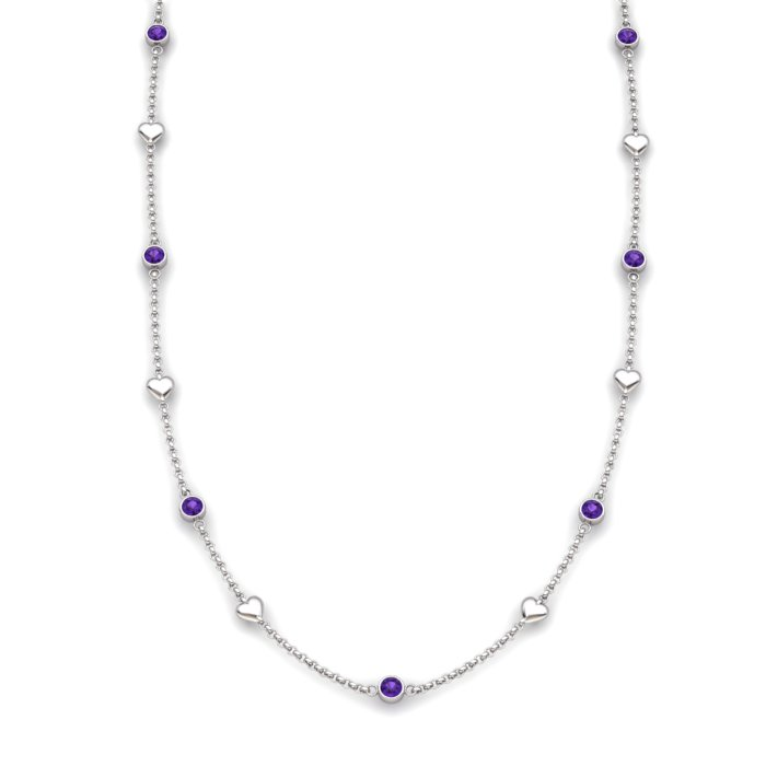 Amethyst 18K White Gold Matinee Heart Necklace_image2
