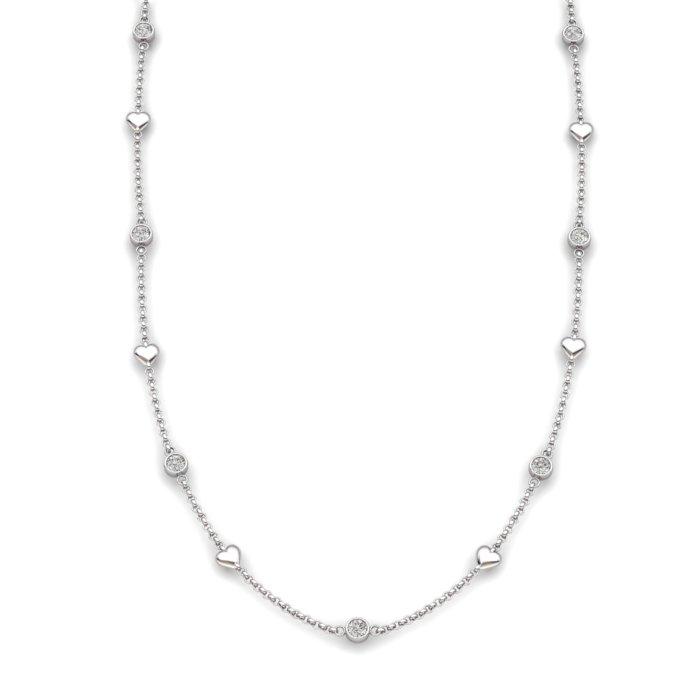White Topaz 18K White Gold Matinee Heart Necklace