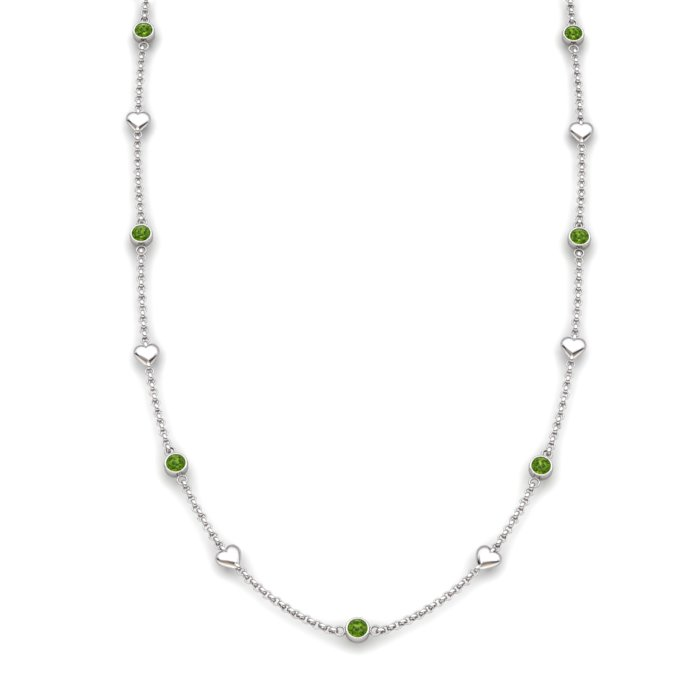 Peridot 18K White Gold Matinee Heart Necklace_image1
