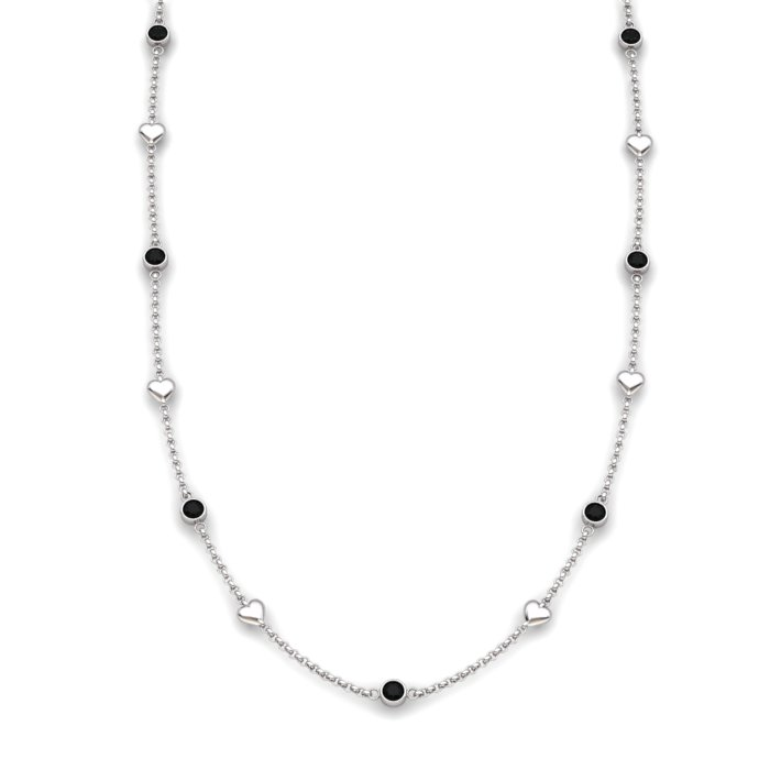 Onyx 18K White Gold Matinee Heart Necklace_image1