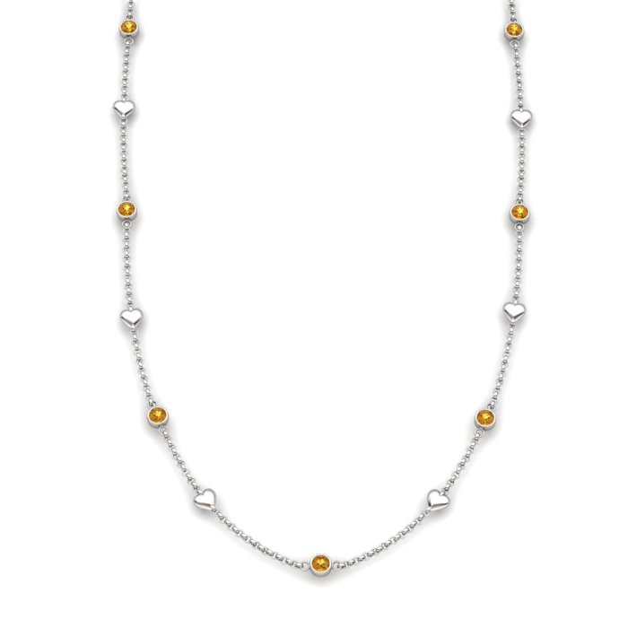 Citrine 18K White Gold Matinee Heart Necklace_image2