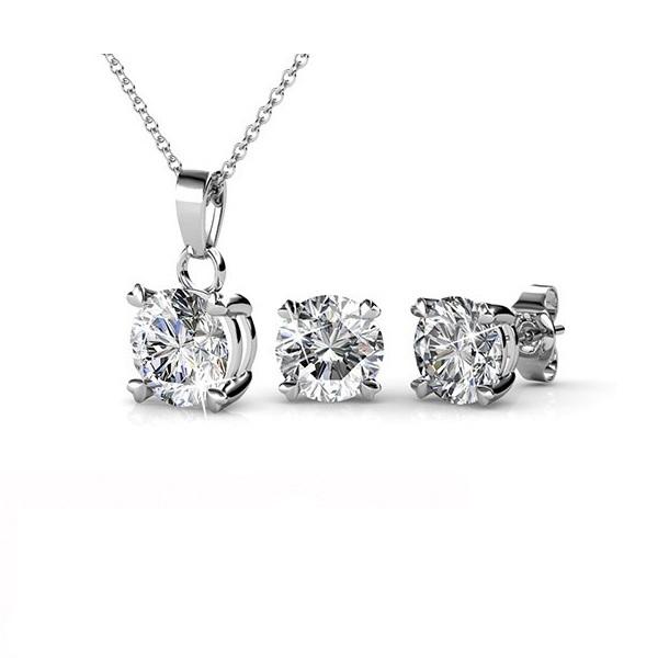 Emili White Gold Pendant and Earrings Set_image1