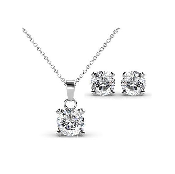 Emili White Gold Pendant and Earrings Set_image2