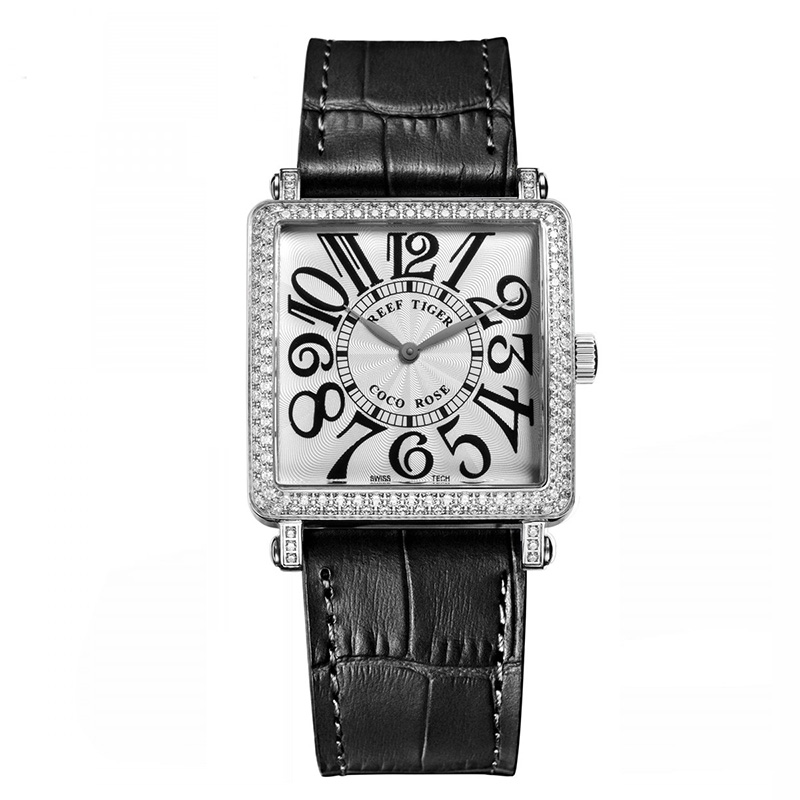 Black Reef Tiger  Ladies Watch with Genuine Leather Band and Sapphire Crystal Dial_image1