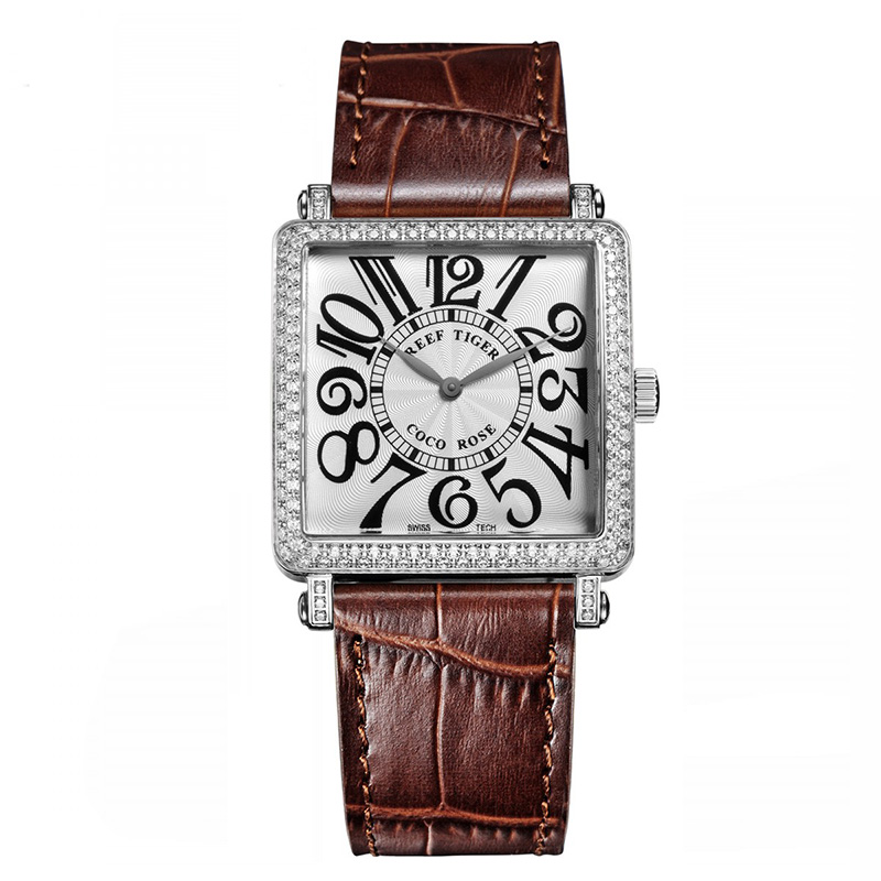 Brown Reef Tiger  Ladies Watch with Genuine Leather Band and Sapphire Crystal Dial_image1