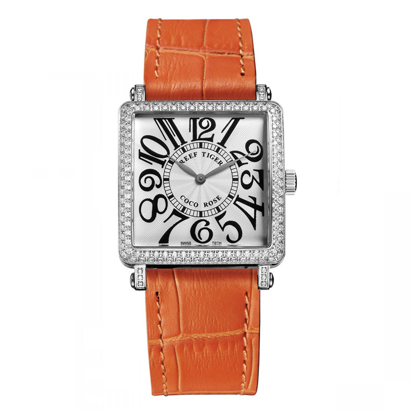 Orange Reef Tiger  Ladies Watch with Genuine Leather Band and Sapphire Crystal Dial_image1