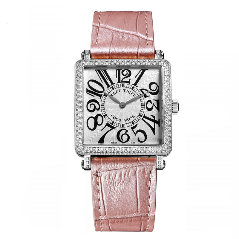 Pink Reef Tiger  Ladies Watch with Genuine Leather Band and Sapphire Crystal Dial
