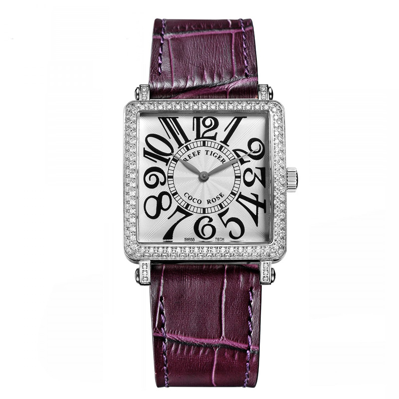 Purple Reef Tiger  Ladies Watch with Genuine Leather Band and Sapphire Crystal Dial_image1