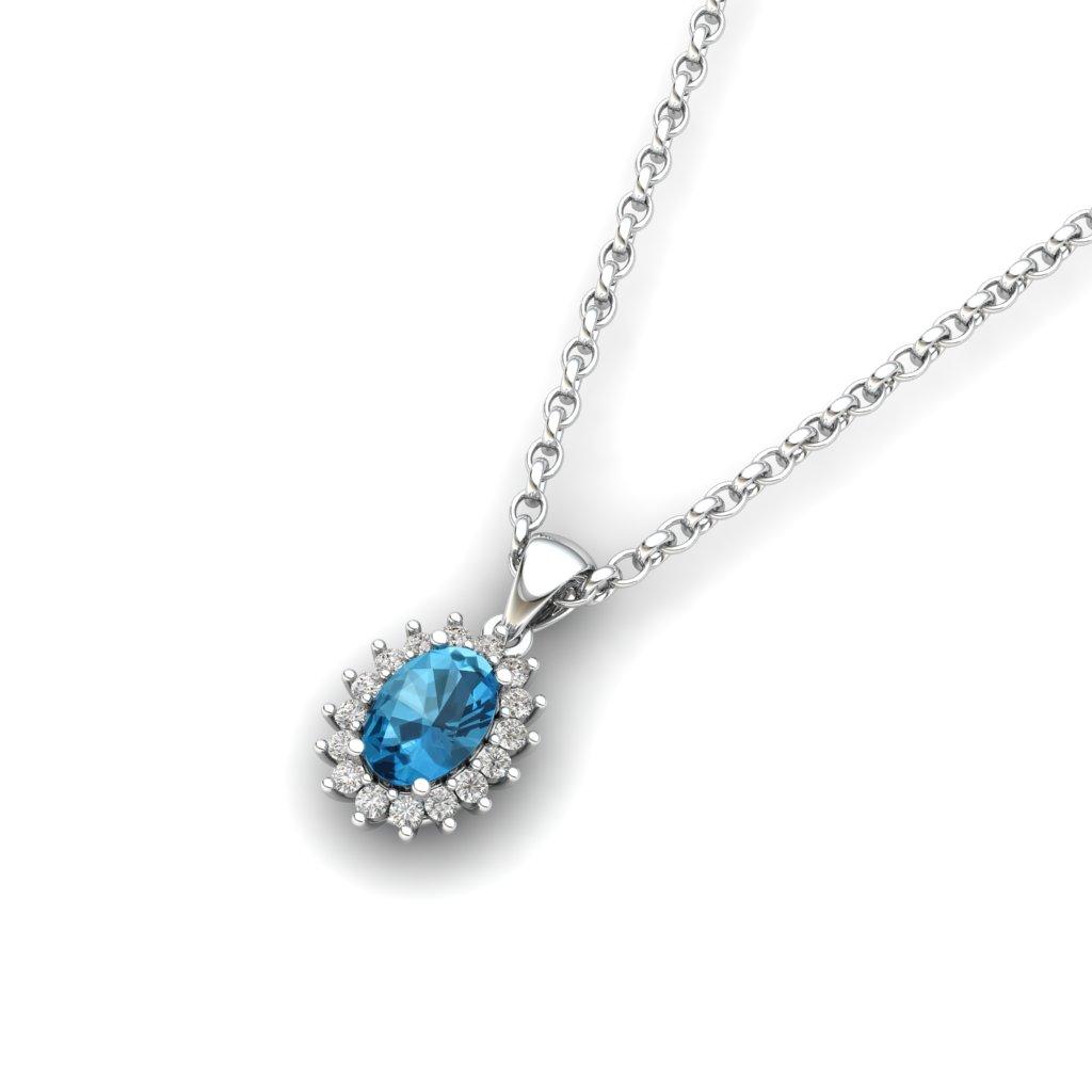 Queen Isabella Aqua Blue Topaz Silver Pendant