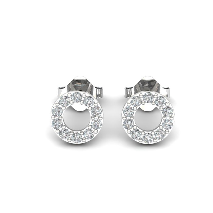 Athena Cubic Zirconia Hollow Circular Earrings_image1
