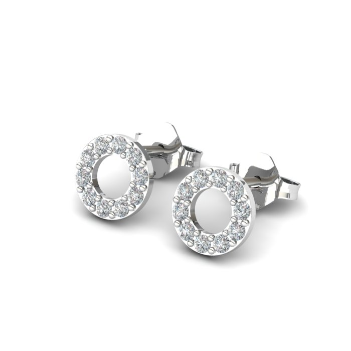 Athena Cubic Zirconia Hollow Circular Earrings_image2