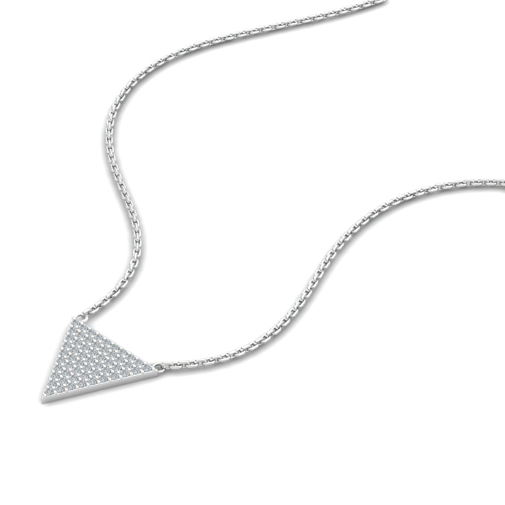 Athena Cubic Zirconia Filled Triangular Pendant Necklace _image2