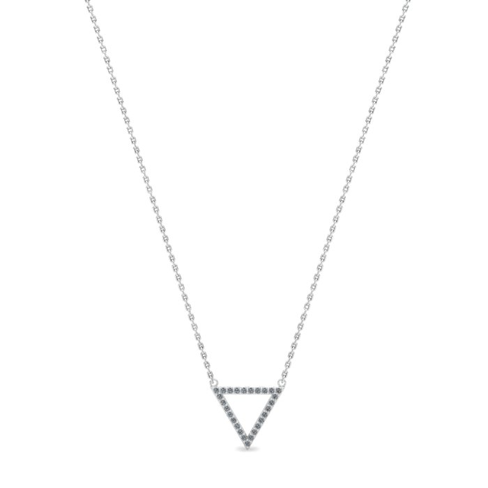 Athena Cubic Zirconia Hollow Triangular Pendant Necklace_image1