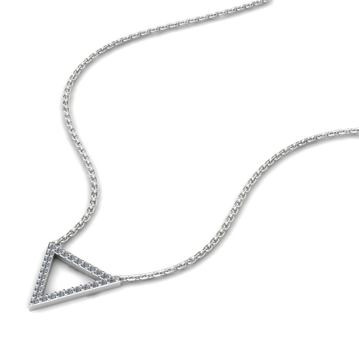 Athena Cubic Zirconia Hollow Triangular Pendant Necklace_image2