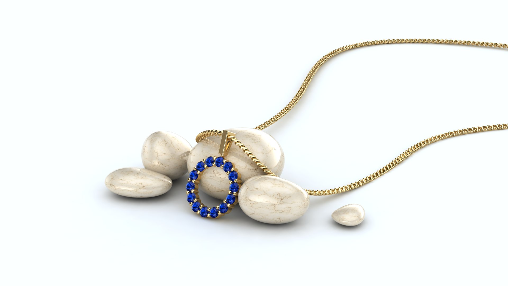Belle Floral Inspired Blue Sapphire Pendent