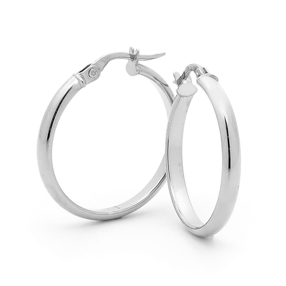 White Gold Saddle Back Hoop Earrings_image1