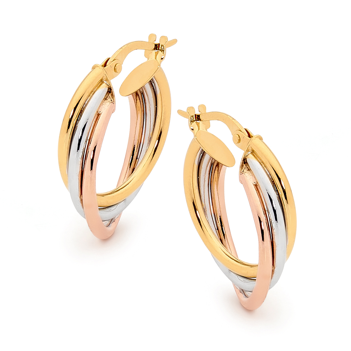 Gold Plated Triple Orbit Sterling Silver Hoop Earrings_image1