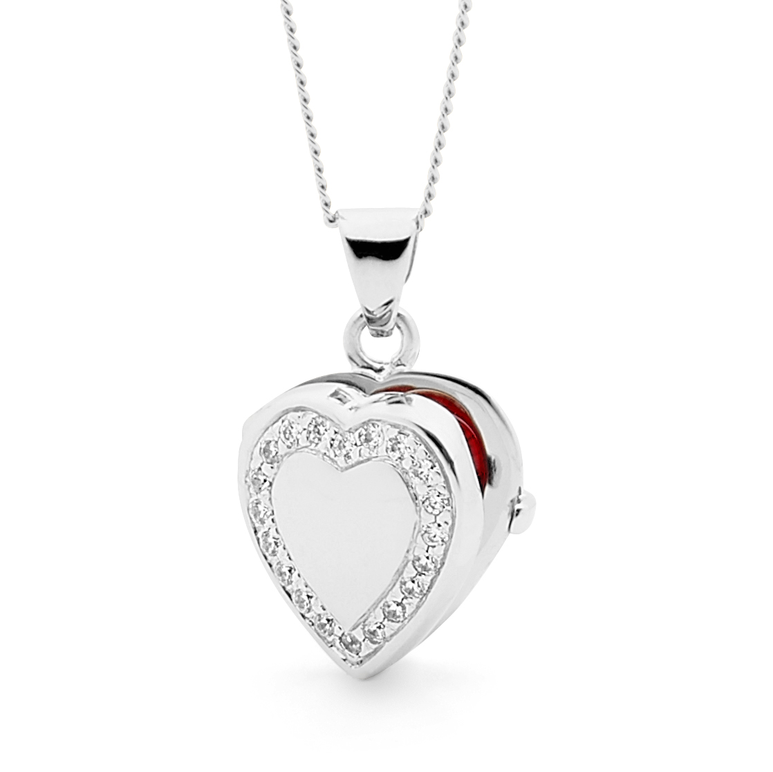 Cubic Zirconia Heart Locket Necklace in Sterling Silver