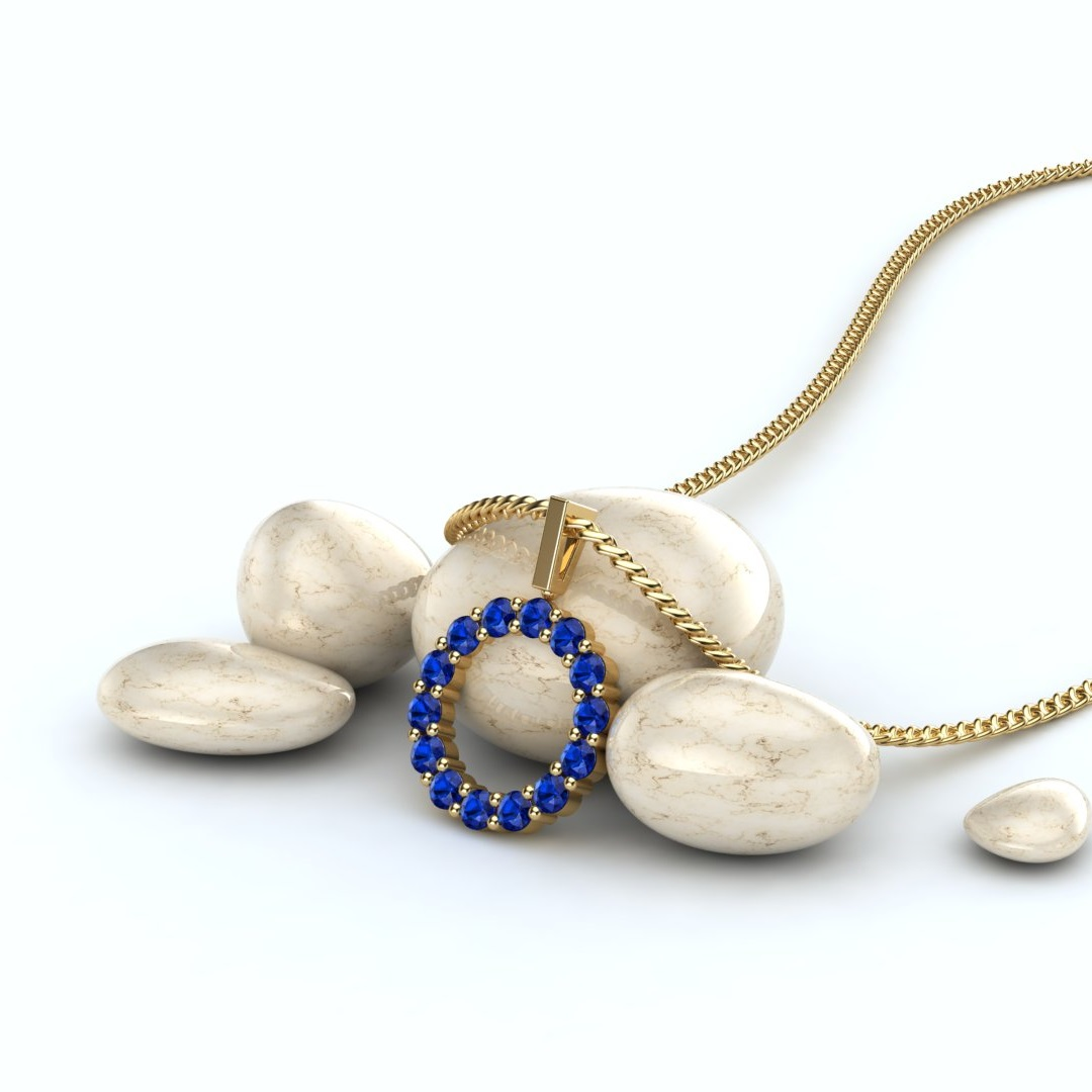 Yellow Gold Belle Floral Inspired Blue Sapphire Pendant_image1