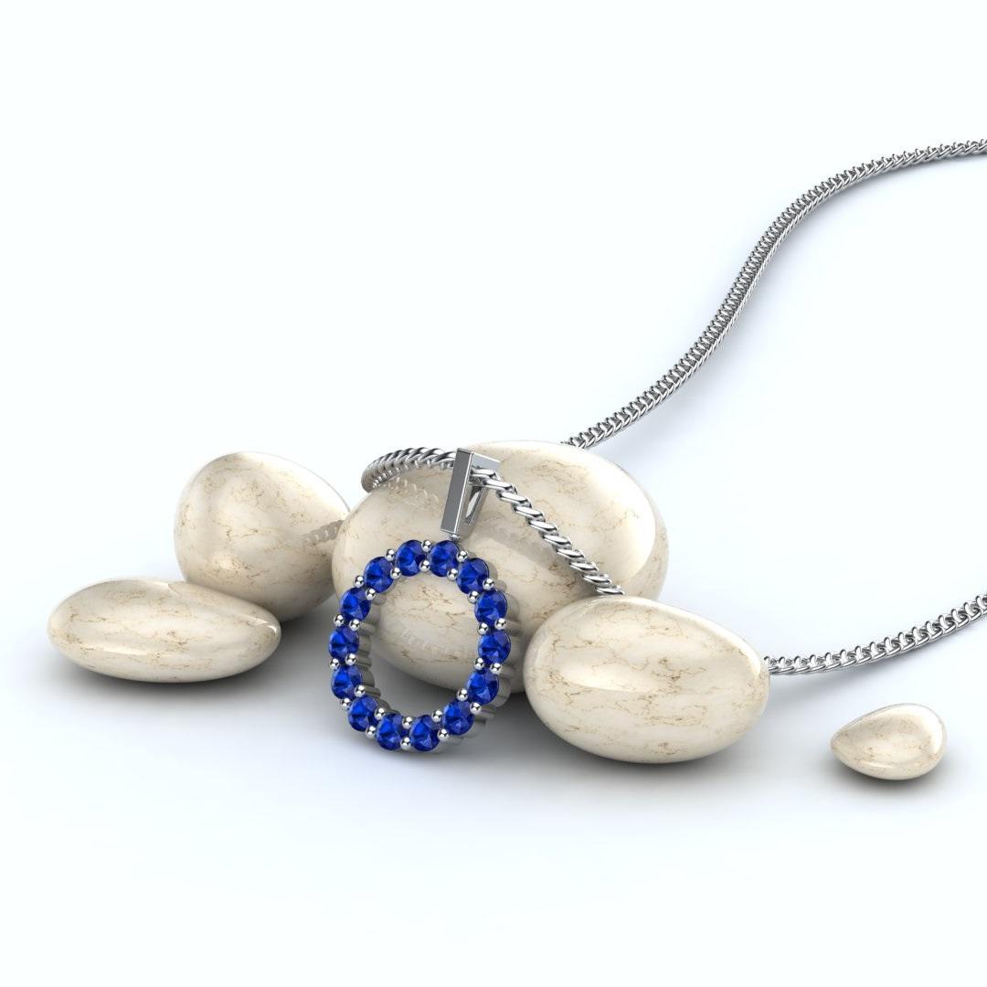 White Gold Belle Floral Inspired Blue Sapphire Pendant