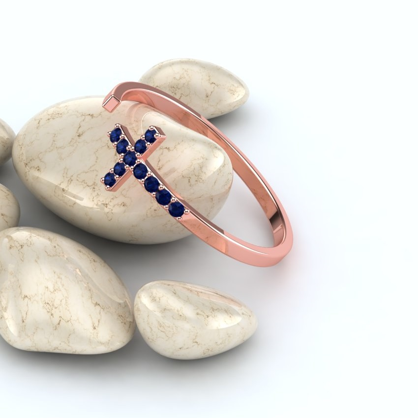 Pink Gold Belle Blue Sapphire Devoted to God Rings