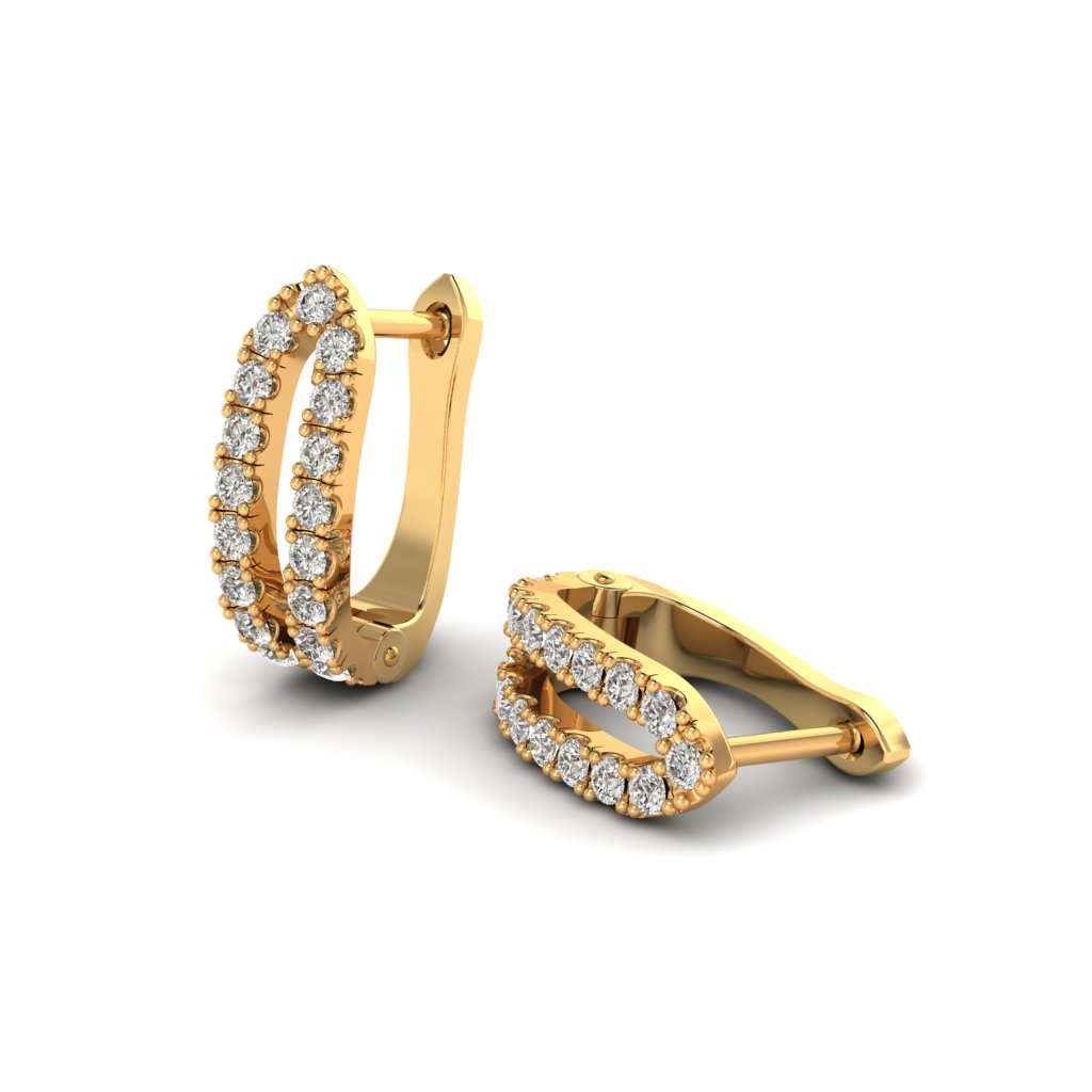 Yellow Gold Cubic Zirconia Huggie Earrings_image1