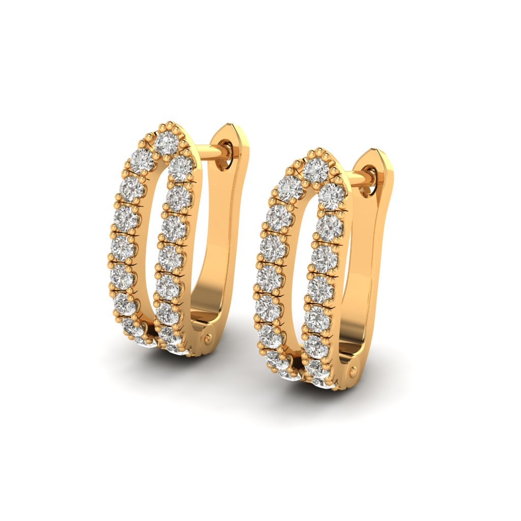 Yellow Gold Cubic Zirconia Huggie Earrings_image2