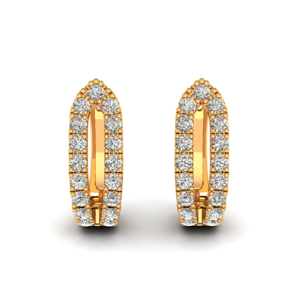 Yellow Gold Cubic Zirconia Huggie Earrings_image3