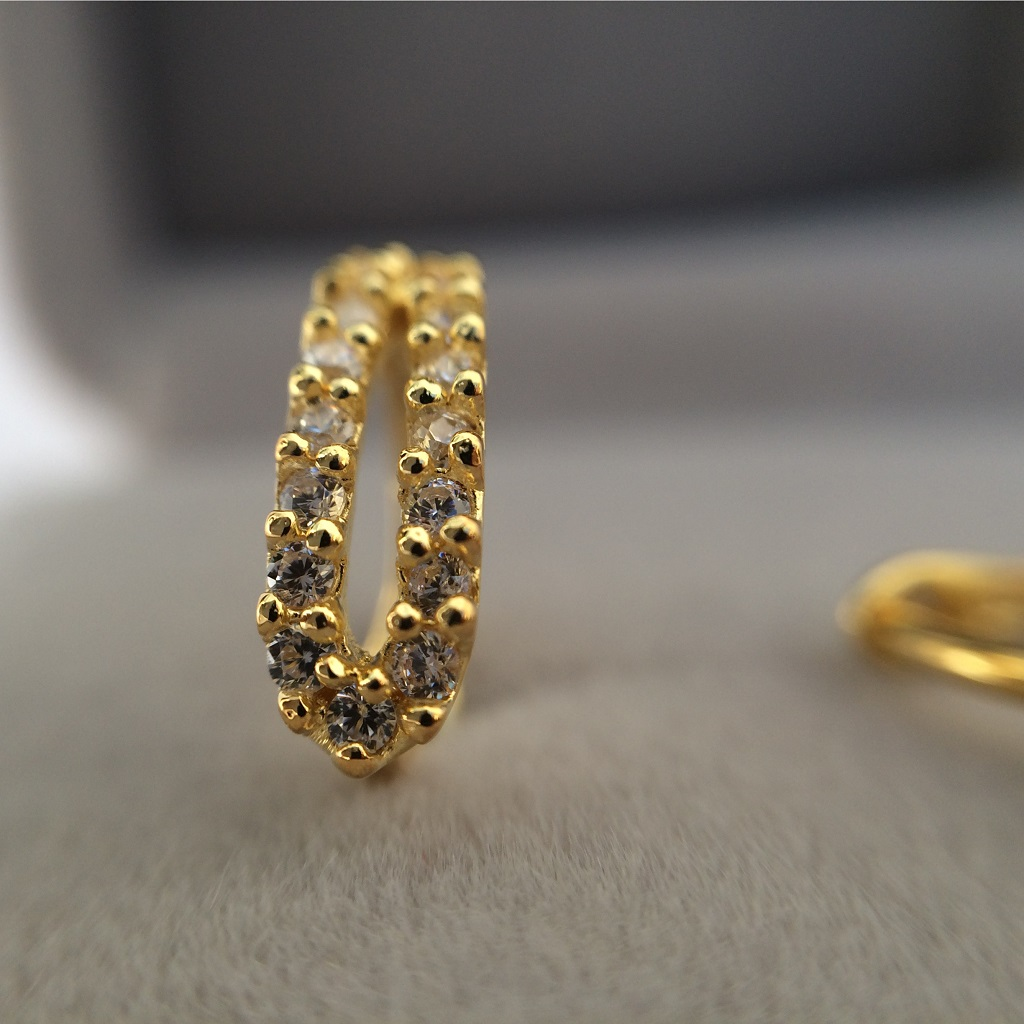 Yellow Gold Cubic Zirconia Huggie Earrings_image4