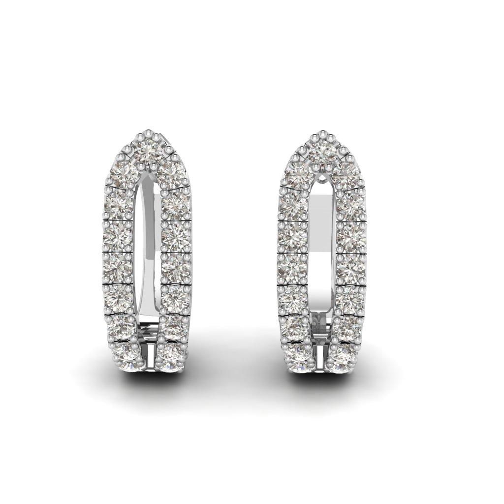 White Gold Cubic Zirconia Huggie Earrings_image3