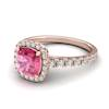 Rose Gold 6mm Created Pink Sapphire Cushion Cut Engagement Ring