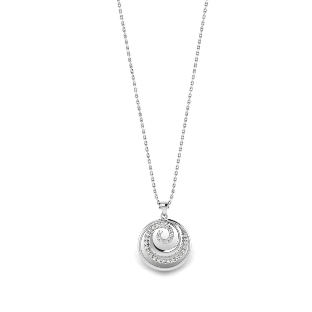 White Gold Spiral CZ Pendant _image1