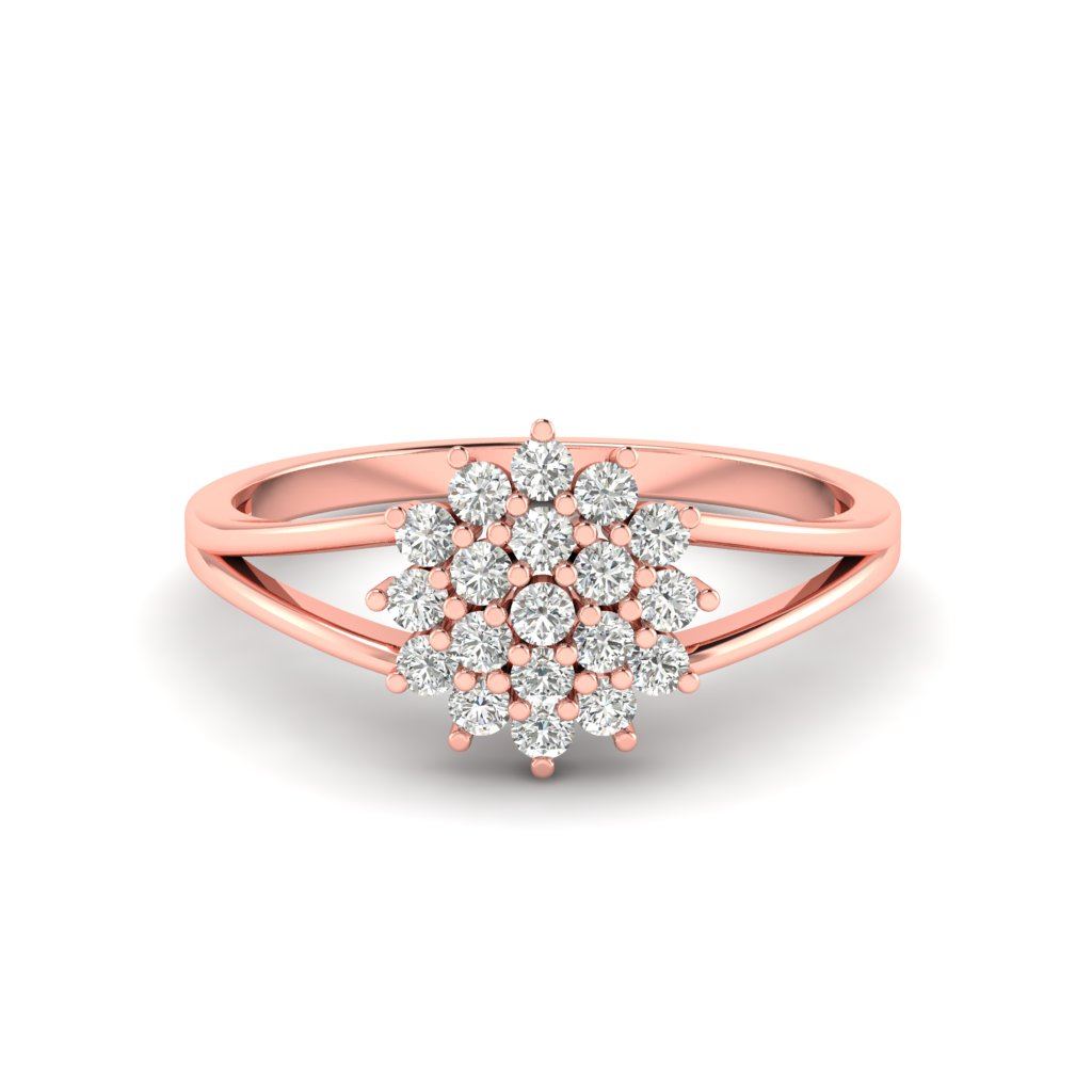 Pink Gold V Shaped Dhalia Inspired Ring_image1