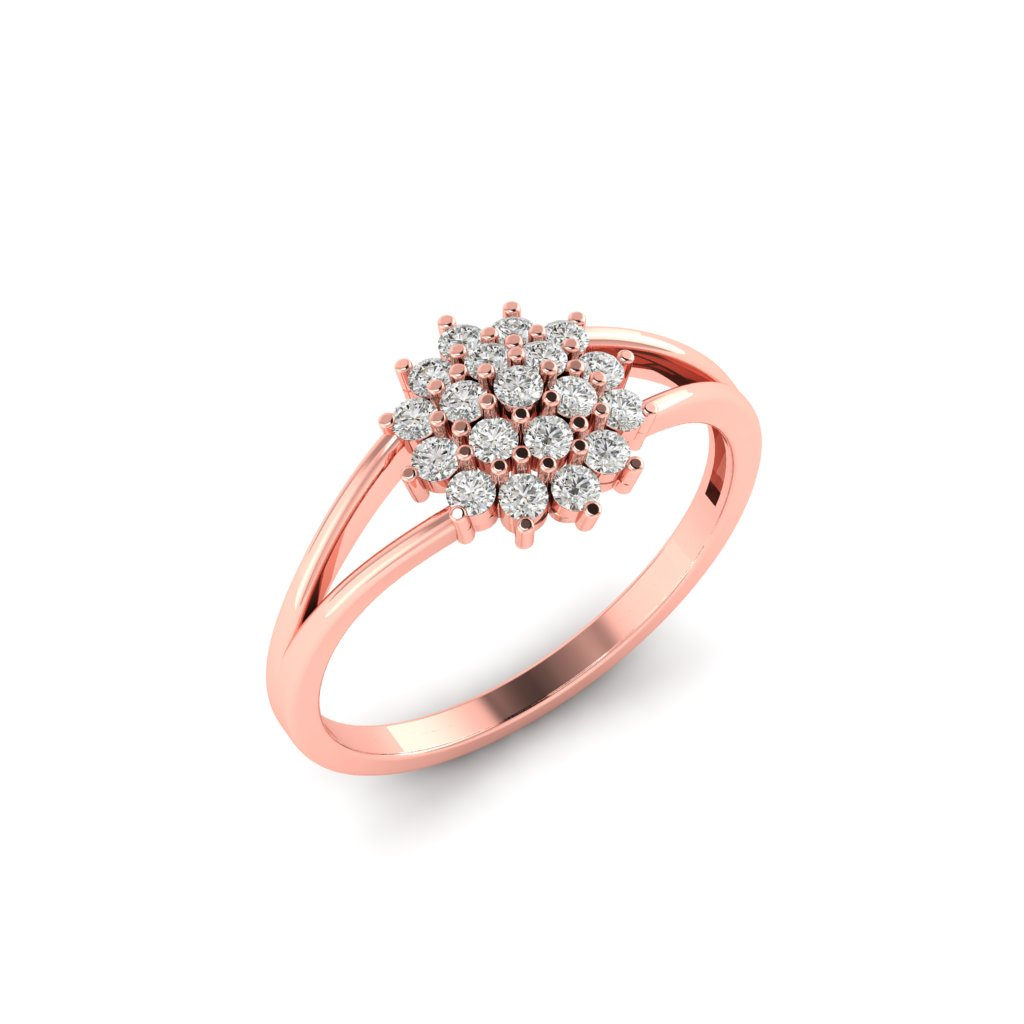 Pink Gold V Shaped Dhalia Inspired Ring_image2