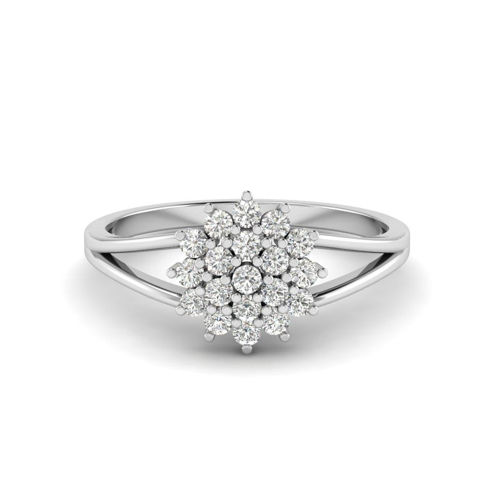 White Gold  V Shaped Dhalia Inspired Ring_image1