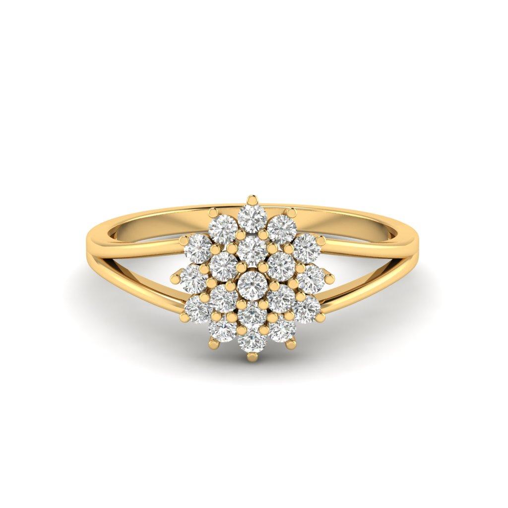 Yellow Gold V Shaped Dhalia Inspired Ring_image1