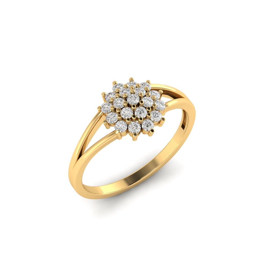 Yellow Gold V Shaped Dhalia Inspired Ring_image2