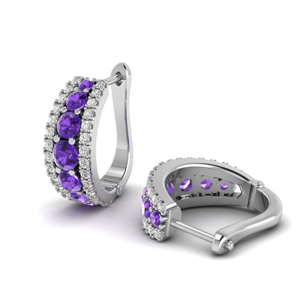 Agnate Amethyst Omega Hoop Earrings_image1