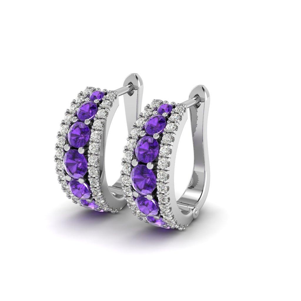 Agnate Amethyst Omega Hoop Earrings_image2