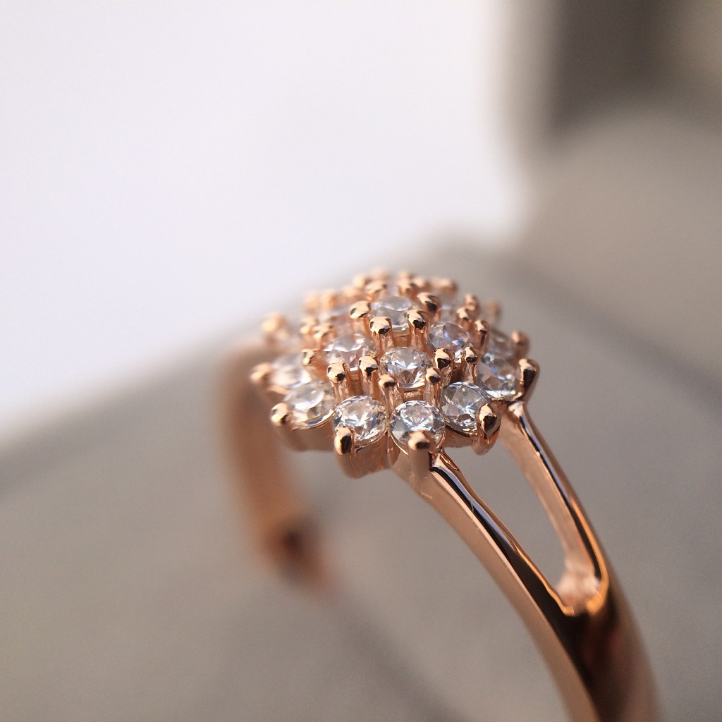 Pink Gold Y Shaped Dhalia Inspired Ring_image3