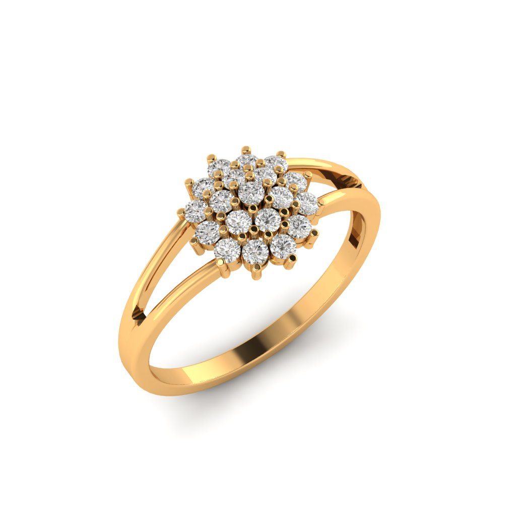 Yellow Gold Y Shaped Dhalia Inspired Ring_image1