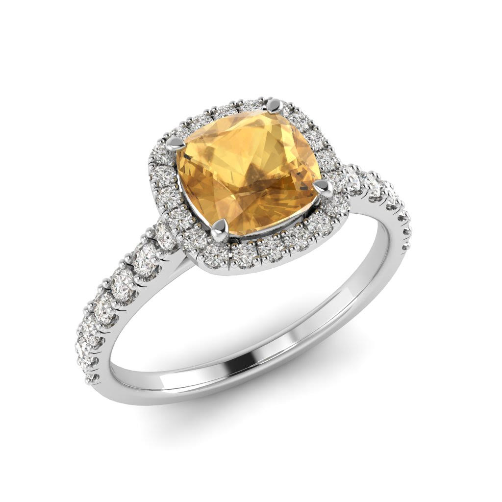 White Gold 6mm Created Yellow Sapphire Cushion Cut Engagement Ring_image1
